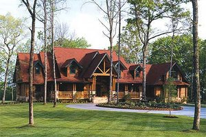 Log Exterior - Front Elevation Plan #17-516