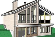 Cottage Style House Plan - 3 Beds 2 Baths 2085 Sq/Ft Plan #23-2713 Exterior - Rear Elevation