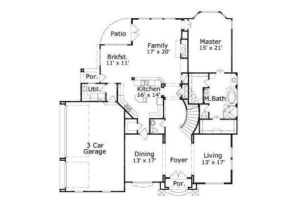 European Floor Plan - Main Floor Plan Plan #411-364