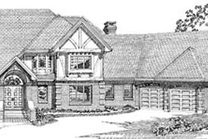 Tudor Exterior - Front Elevation Plan #47-199