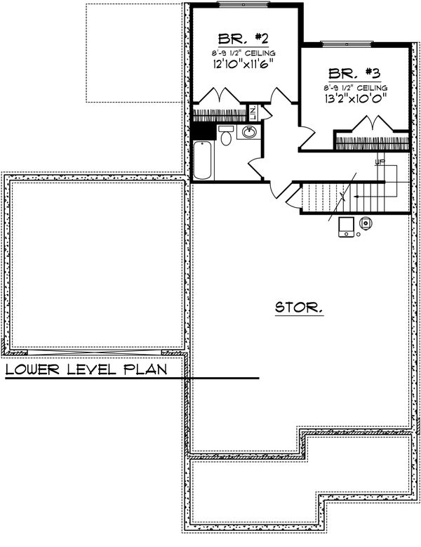 Craftsman Floor Plan - Lower Floor Plan Plan #70-1021