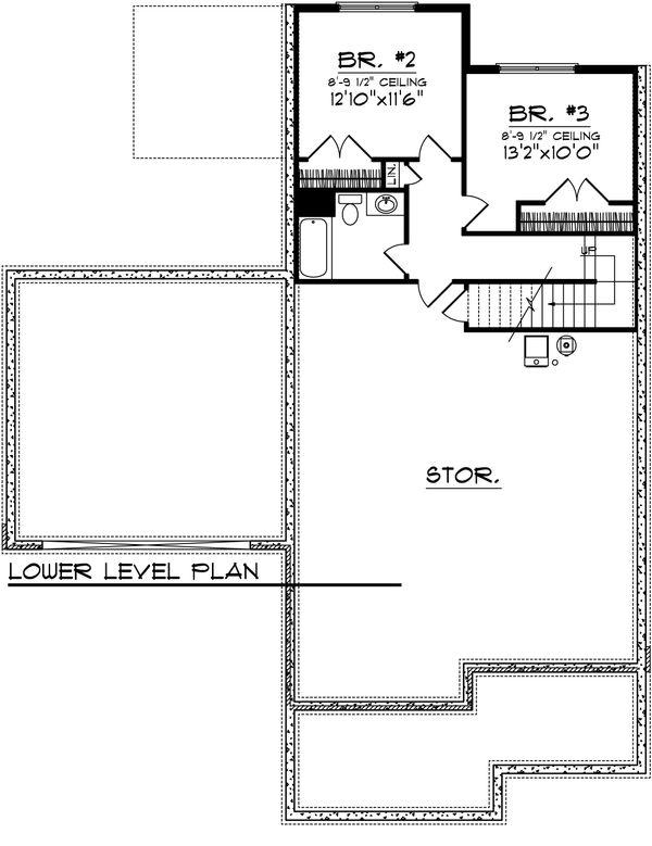 Craftsman Floor Plan - Lower Floor Plan Plan #70-1021
