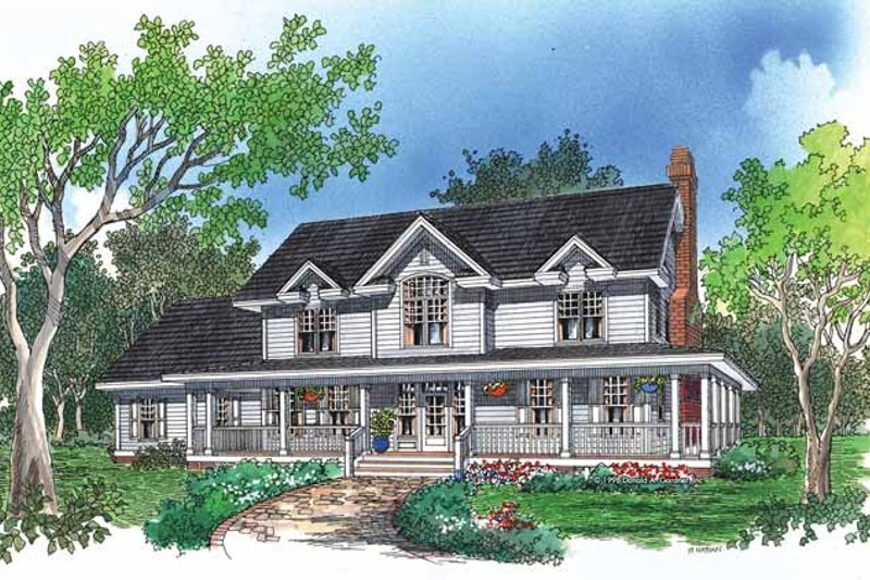 Country Exterior - Front Elevation Plan #929-410