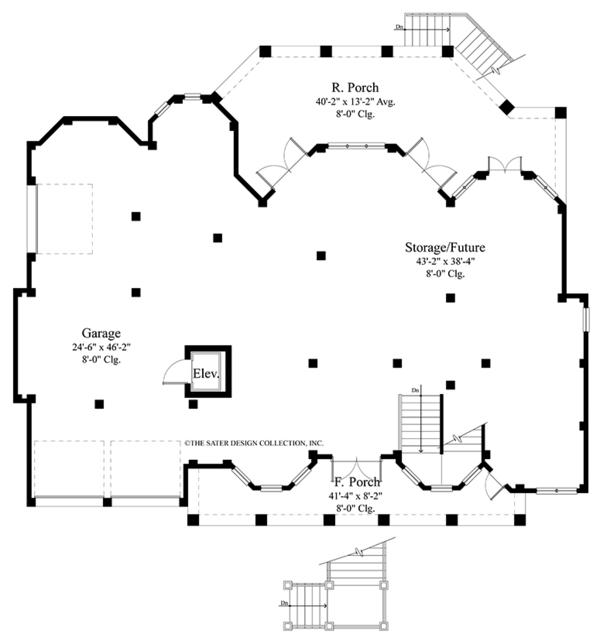 Country Floor Plan - Lower Floor Plan #930-472