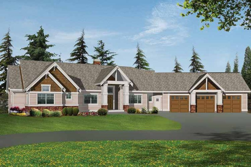 Craftsman Exterior - Front Elevation Plan #132-338 - Houseplans.com