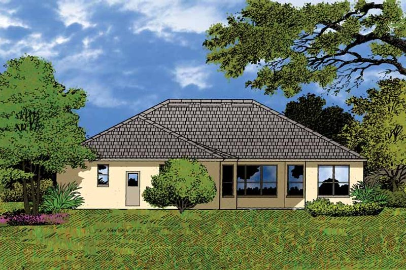 Mediterranean Exterior - Rear Elevation Plan #1015-10 - Houseplans.com
