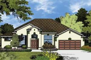 Mediterranean Exterior - Front Elevation Plan #1015-18