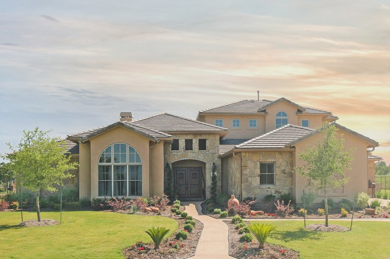 Mediterranean Style House Plan - 4 Beds 3.5 Baths 3140 Sq/Ft Plan #80-126 Exterior - Front Elevation