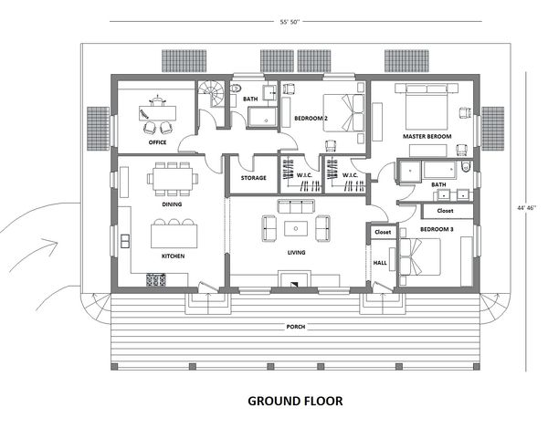 Contemporary Floor Plan - Main Floor Plan Plan #542-12