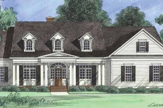 Country Exterior - Front Elevation Plan #1054-17