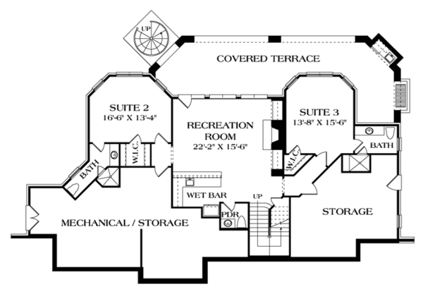 Craftsman Floor Plan - Lower Floor Plan Plan #453-633