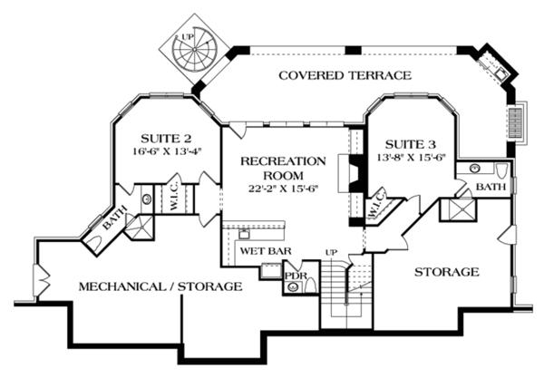 Home Plan - Craftsman Floor Plan - Lower Floor Plan #453-633