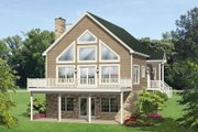 Cabin Style House Plan - 4 Beds 3 Baths 1691 Sq/Ft Plan #1010-148 Exterior - Rear Elevation