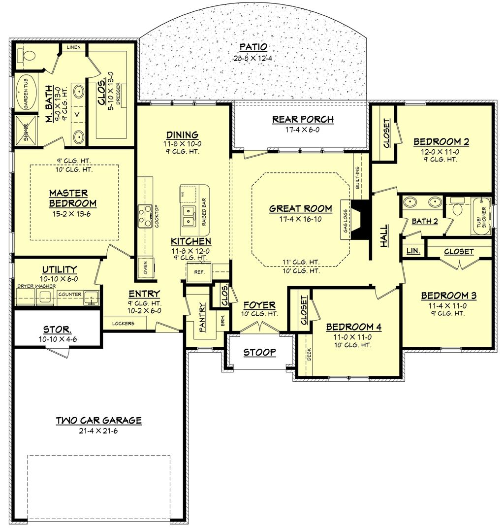 Traditional Style House Plan - 4 Beds 2 Baths 1875 Sq/Ft ...