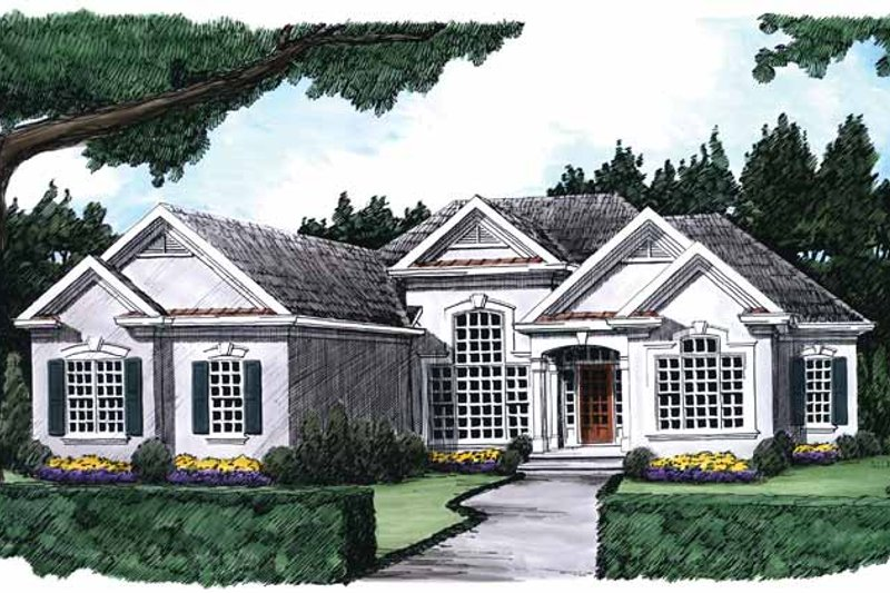 Mediterranean Exterior - Front Elevation Plan #927-216