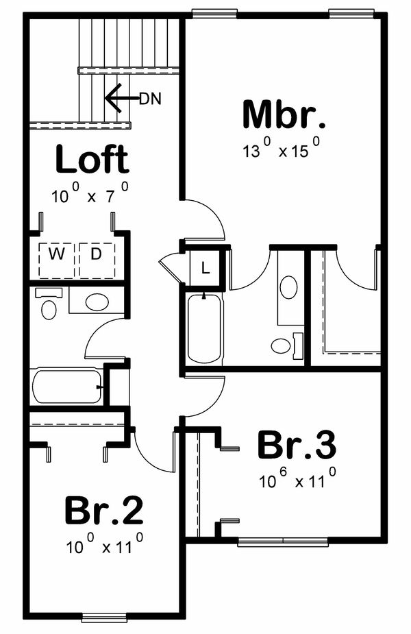 Traditional Floor Plan - Upper Floor Plan Plan #20-2177