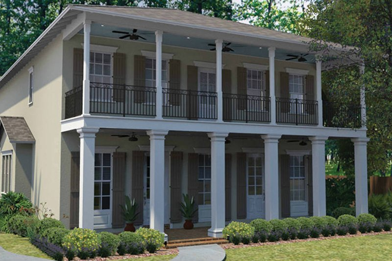 Southern Exterior - Front Elevation Plan #1058-75