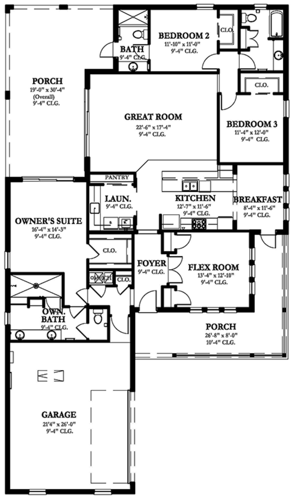 Ranch Floor Plan - Main Floor Plan Plan #1058-98