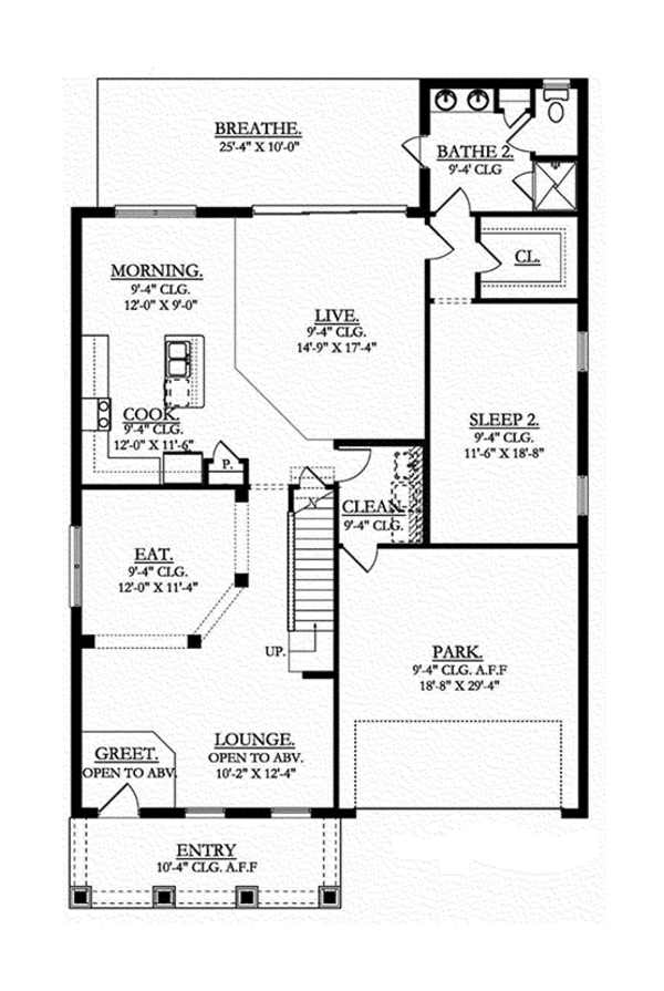 Craftsman Floor Plan - Main Floor Plan Plan #1058-69