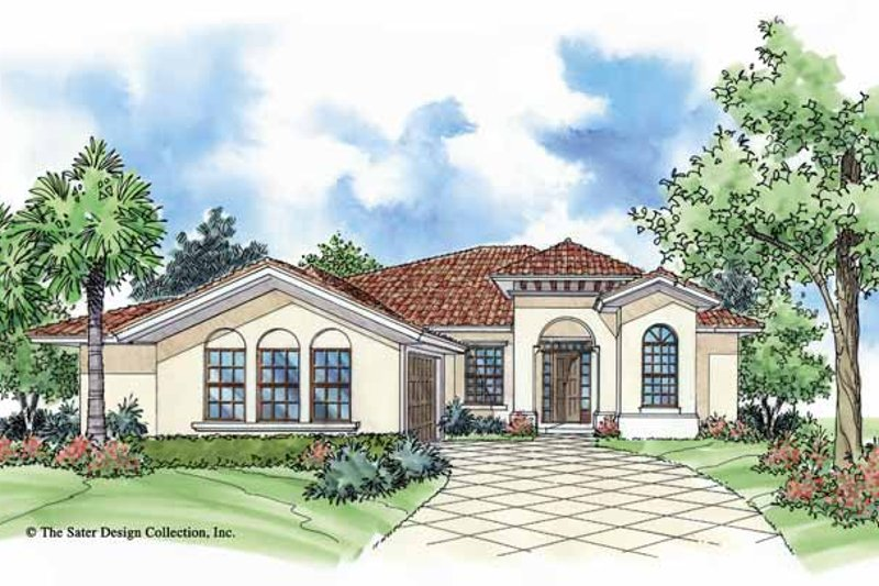 Mediterranean Exterior - Front Elevation Plan #930-389