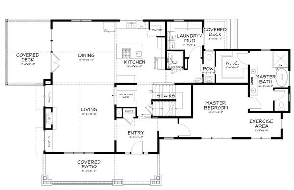 Country Style House Plan - 3 Beds 2.5 Baths 3016 Sq/Ft Plan #895-10 Floor Plan - Main Floor Plan