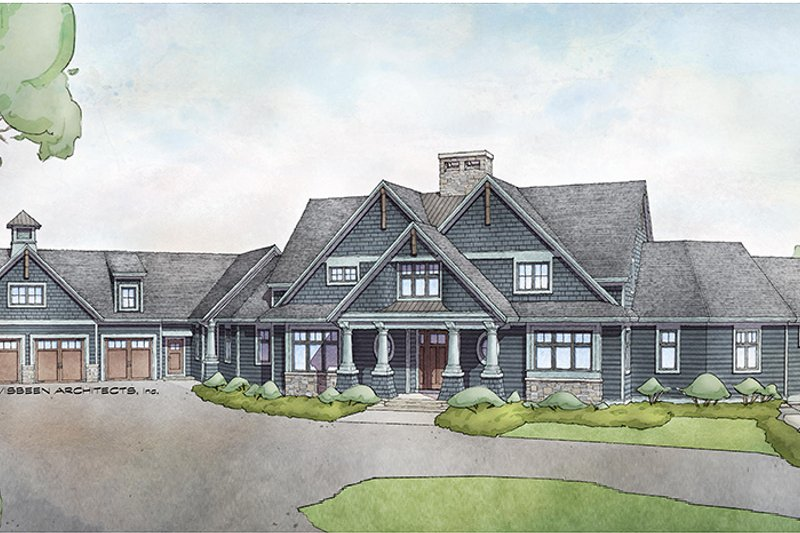 Craftsman Style House Plan - 5 Beds 4 Baths 5026 Sq/Ft Plan #928-292 Exterior - Front Elevation