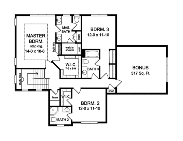 Traditional Floor Plan - Upper Floor Plan Plan #1010-134