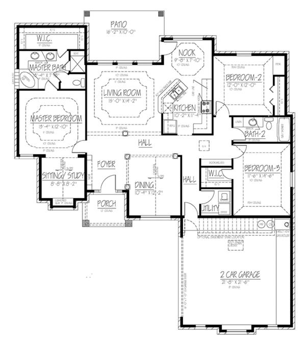 Ranch Floor Plan - Main Floor Plan Plan #1061-17