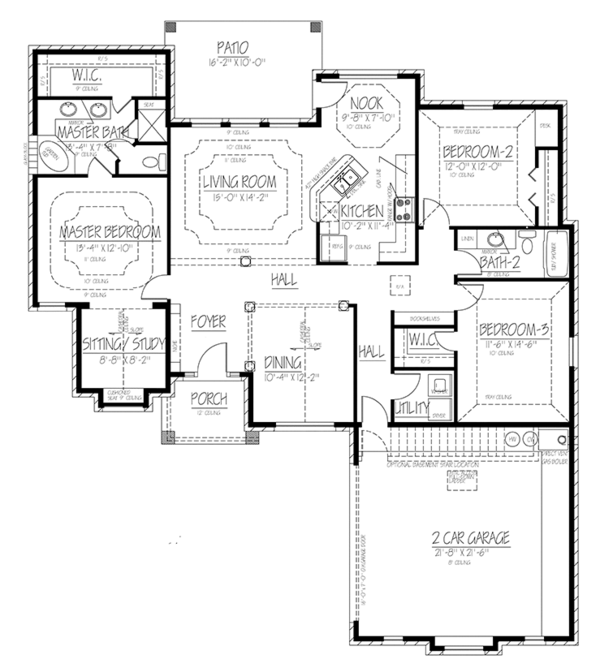Ranch Floor Plan - Main Floor Plan Plan #1061-17