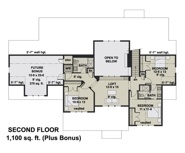 Home Plan - Farmhouse Floor Plan - Upper Floor Plan #51-1162