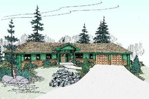 Bungalow Exterior - Front Elevation Plan #60-398