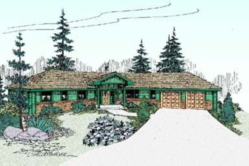 Dream House Plan - Bungalow Exterior - Front Elevation Plan #60-398