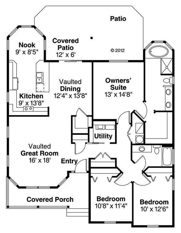 House Plan Design - Ranch style country house plan, main level floor plan