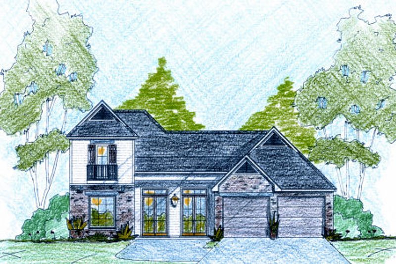 Southern Exterior - Front Elevation Plan #36-499