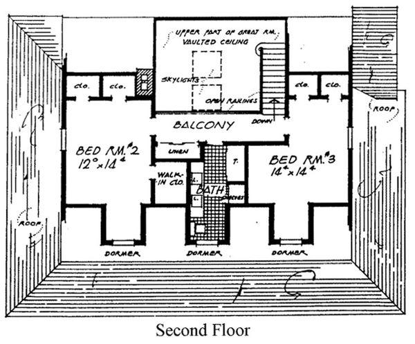 Country Floor Plan - Upper Floor Plan Plan #315-107