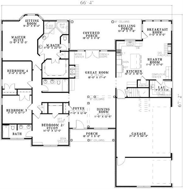 Home Plan - Traditional Floor Plan - Main Floor Plan #17-636