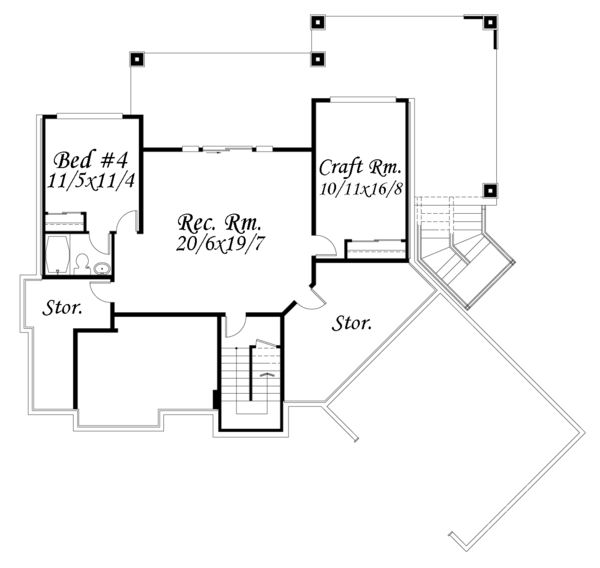 Contemporary Floor Plan - Lower Floor Plan Plan #509-84