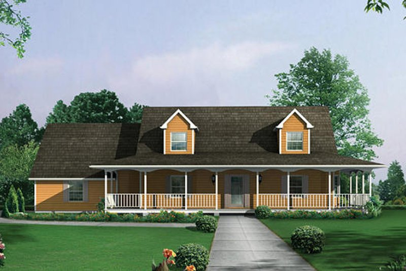 Dream House Plan - Country Exterior - Front Elevation Plan #57-228