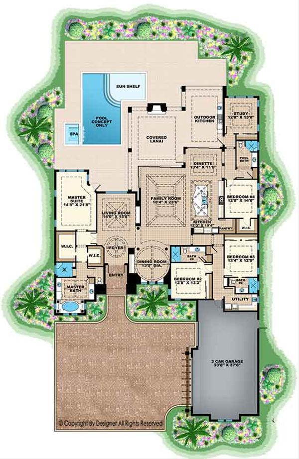 House Design - Mediterranean Floor Plan - Main Floor Plan #1017-160