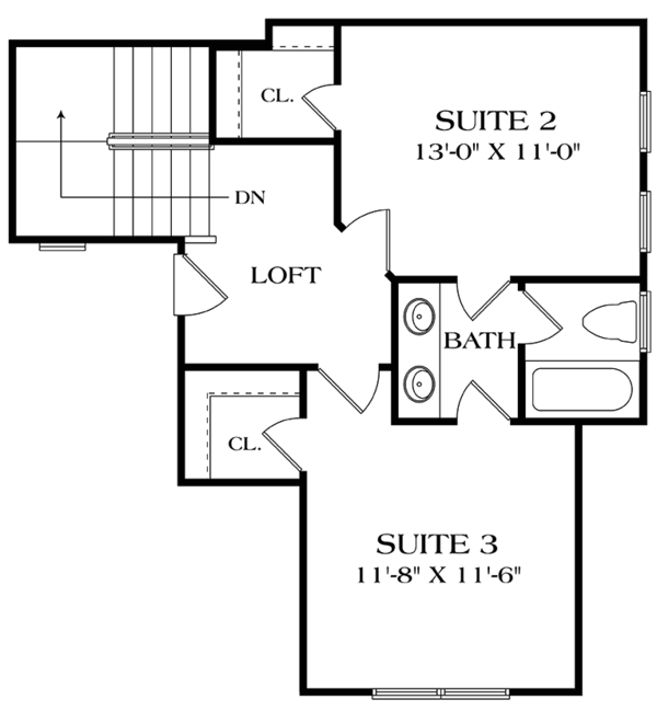 Craftsman Floor Plan - Upper Floor Plan Plan #453-621