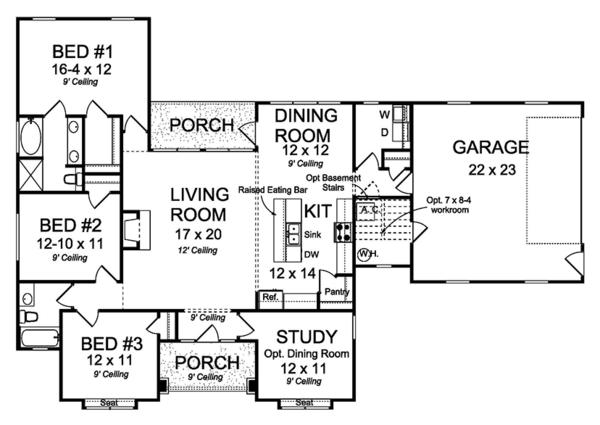 House Plan Design - Ranch Floor Plan - Main Floor Plan #513-2157
