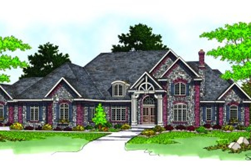 Traditional Style House Plan - 4 Beds 4.5 Baths 5752 Sq/Ft Plan #70-557 Exterior - Front Elevation