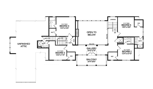 Traditional Floor Plan - Upper Floor Plan Plan #314-295