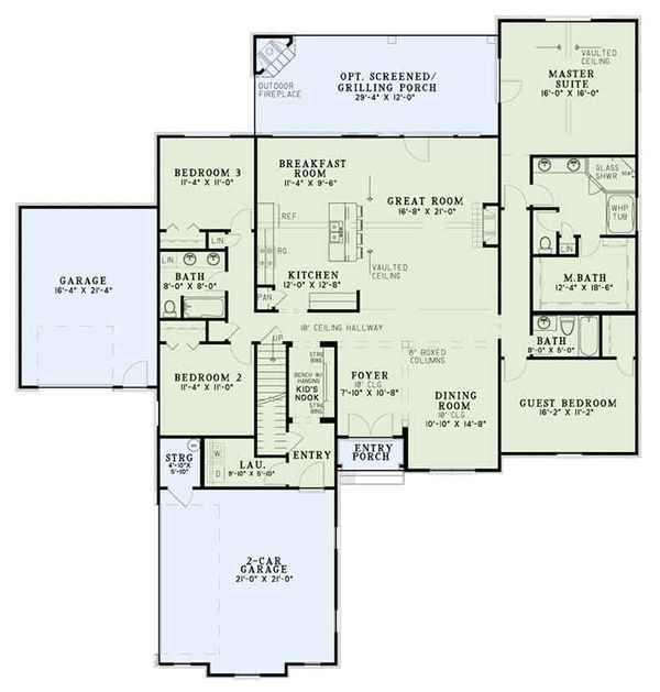 Architectural House Design - European Floor Plan - Main Floor Plan #17-3387