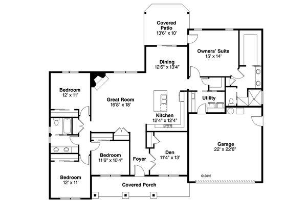 Ranch Floor Plan - Main Floor Plan Plan #124-1091