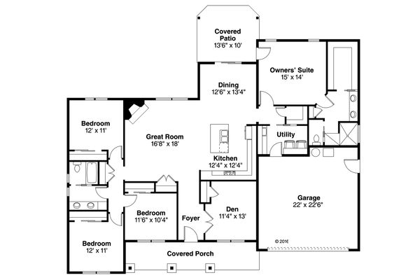 Ranch Floor Plan - Main Floor Plan Plan #124-1091