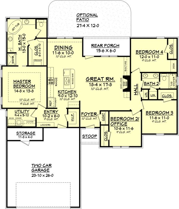 European Floor Plan - Main Floor Plan Plan #430-100
