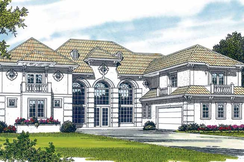 House Plan Design - Mediterranean Exterior - Front Elevation Plan #453-380