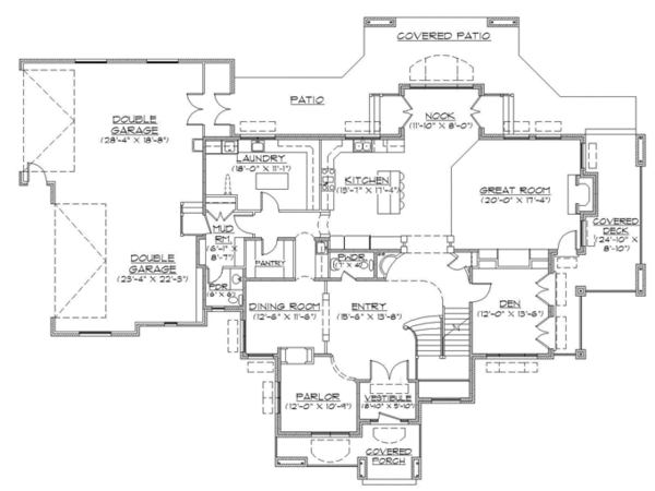 Traditional Floor Plan - Main Floor Plan Plan #945-136