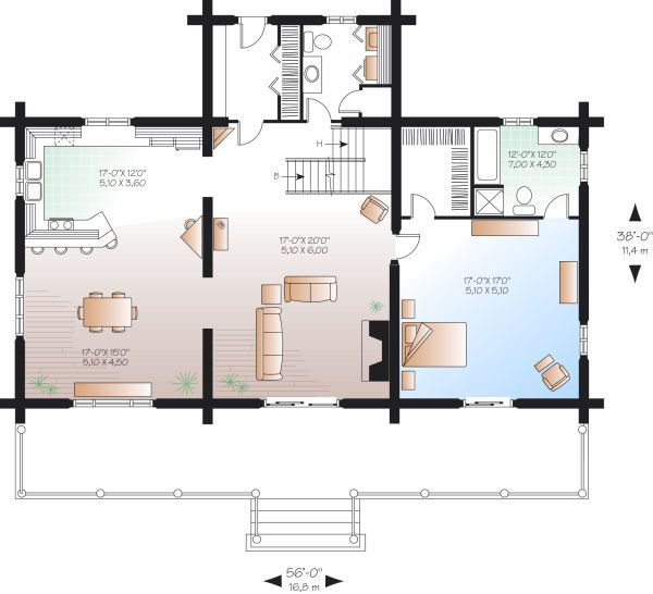 Log Floor Plan - Main Floor Plan Plan #23-752